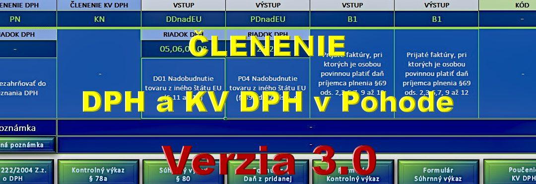 Členenie DPH a KV DPH – pomôcka pre používateľov Pohody – verzia 3.0.4