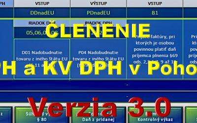 Členenie DPH a KV DPH – pomôcka pre používateľov Pohody – verzia 3.0.2